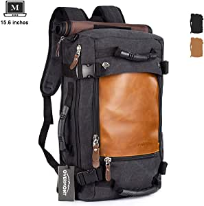 Overmont Canvas Travel Laptop Backpack Vintage Duffle Hiking Rucksack