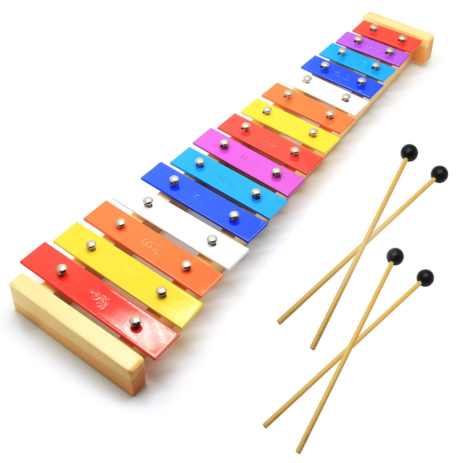 CELEMOON Natural Wooden Toddler Xylophone Glockenspiel For Kids with Multi-Colored Metal Bars Included Two Sets of Child-Safe Wooden Mallets (15-tone) by CELEMOON