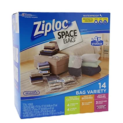 Charmant Ziploc Space Bag 14 Bag Variety   14pc 4 M, 4 L,