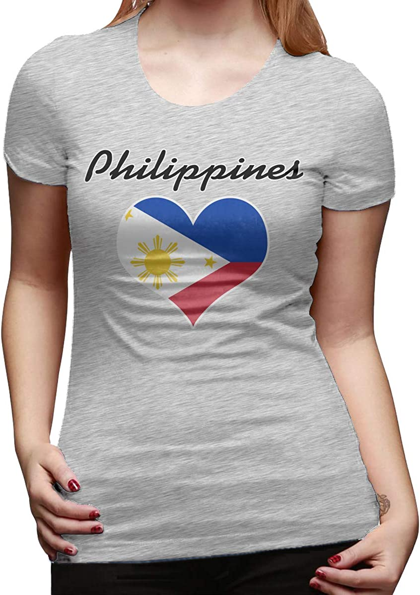 DFGHJZH-L Philippines Flag Heart Womens Funny Short Sleeve T Shirts