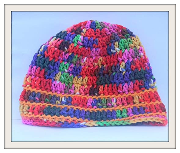Amazoncom Childrens Crochet Skull Cap Multi Color Beanie Boho
