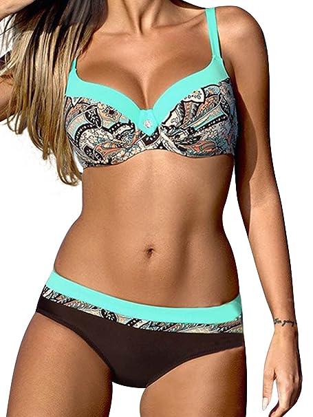 8361036dafd3 Costumi da Bagno Bikini Due Pezzi Donna Mare Sexy Costume Imbottito Push Up  Set Bikini Beachwear: Amazon.it: Abbigliamento