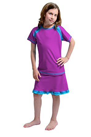 90f8e4f949d Amazon.com  HydroChic Girl s Short Sleeve Swim Top and Ruffle Skirt - Modest  Swimwear with Shorts  Clothing
