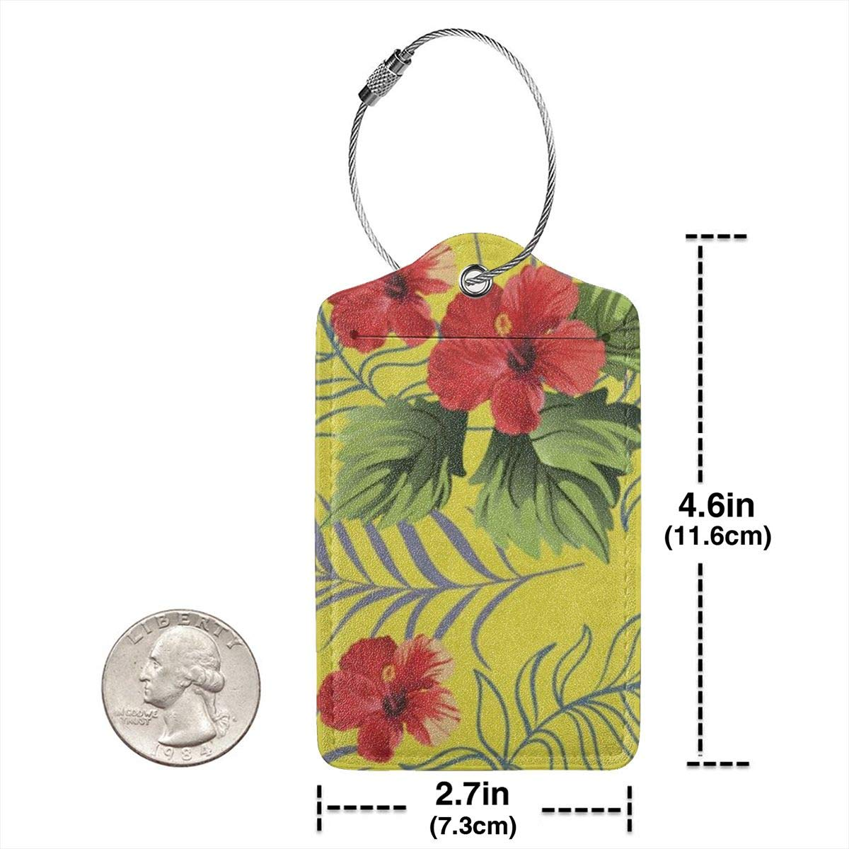 Hawaiian Hibiscus Tropical Flowers Leather Luggage Tags Personalized Extra Address Cards With Adjustable Strap