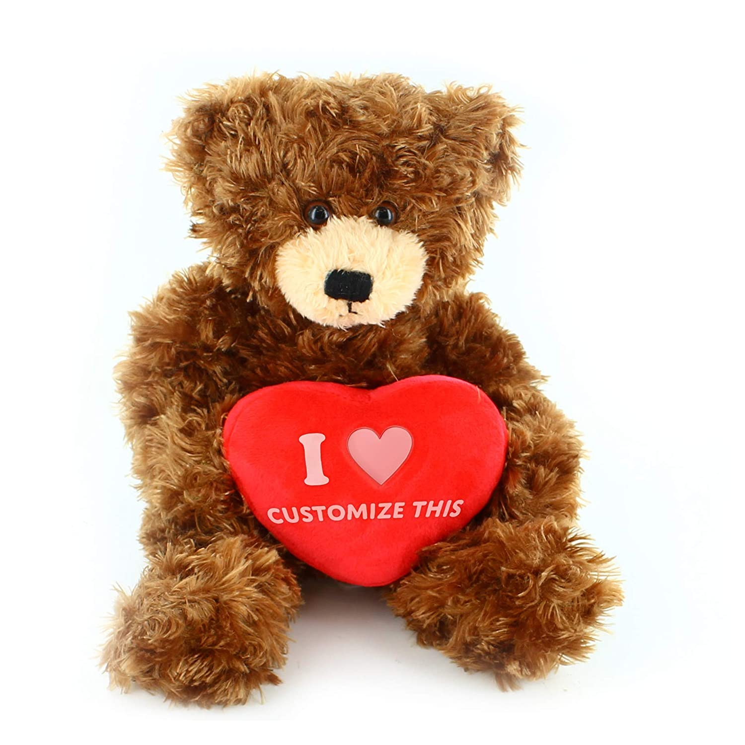 Plushland Brandon Bear 12 Inches with Custom Heart, Chocolate Teddy Bear Stuffed Animal - Valentine Day Personalized Gift for Girls, Boys and Your Loved ...
