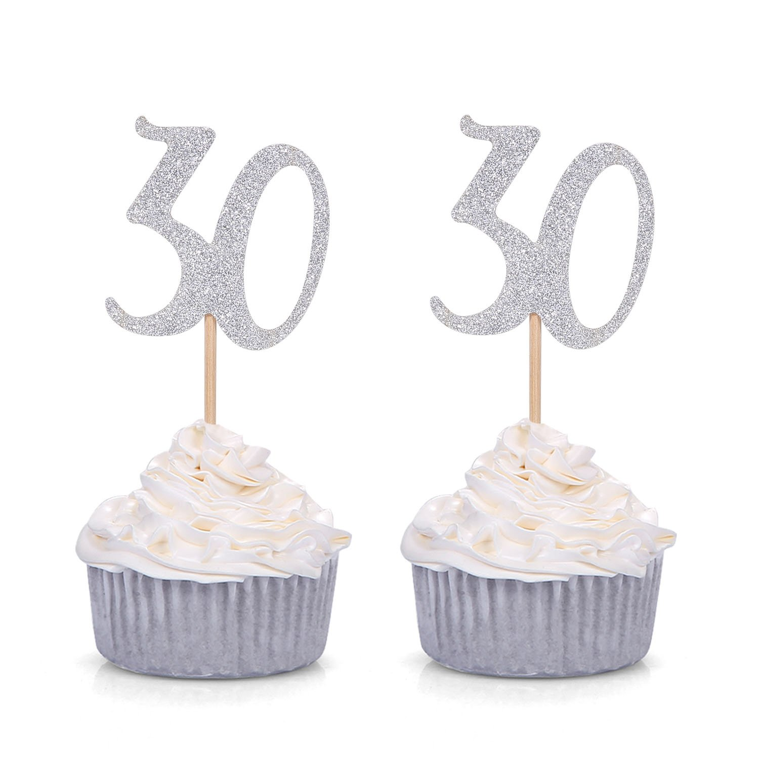 Giuffi Set Of 24 Golden 30th Birthday Cupcake Toppers Party Decors