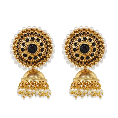 b9193dbc6e3 Image Unavailable. Image not available for. Color  Ratna Exclusive Indian  Bollywood Designer Black Gold plated Pearl Jhumki Jhumka Earring ...