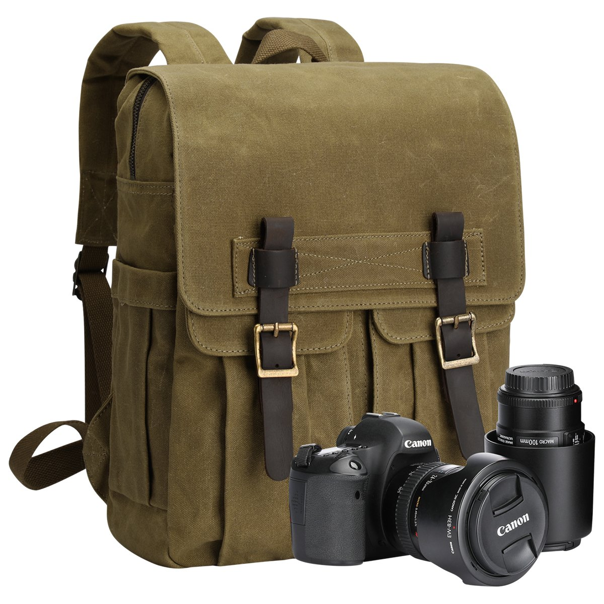 S-ZONE Waxed Canvas Waterproof Camera Backpack for DSLR/SLR Cameras, 15.6'' Laptops and Accessories