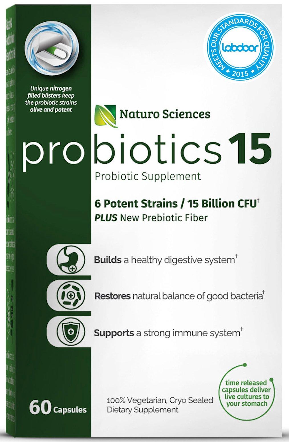 Naturo Sciences Probiotics 15 Billion CFU, Advanced Probiotic Supplement, Time Released Capsules in Dry Nitrogen Filled Blister Packs, 60 Servings, 1 a Day Servings by Naturo Sciences (Image #6)