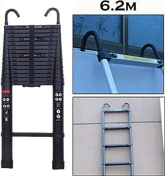 Escalera telescópica recta de 6,2 m, con gancho desmontable, multiusos, multiusos, de 15 pasos, 150 kg, capacidad de carga con pies de goma antideslizantes: Amazon.es: Bricolaje y herramientas