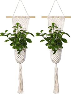 LEEPES Macrame Plant Hangers 2 Pcs Indoor Hanging Planter Basket Flowe Pot Holder Cotton Rope with Beads No Tassels, 32.7 Inch