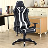 Costway Executive Gaming Chair Racing High Back w/Lumbar Support Headrest Recliner Office Swivel Computer Chair PU Leather Seat Work Race (Black + White)