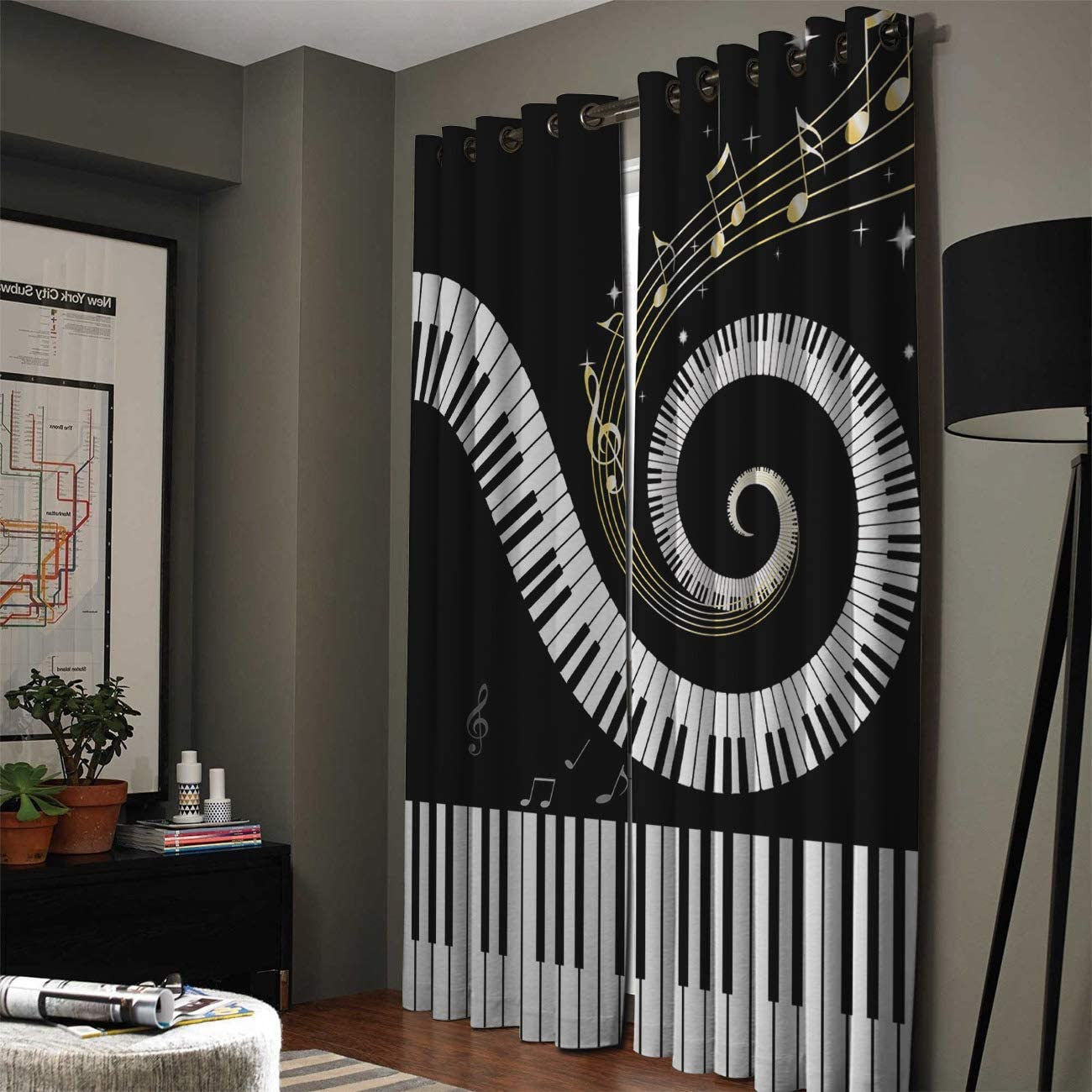 Window Curtain Piano Notes Music Keyboard Home Decor Draperies 2 Panels Set for Living Room Bedroom