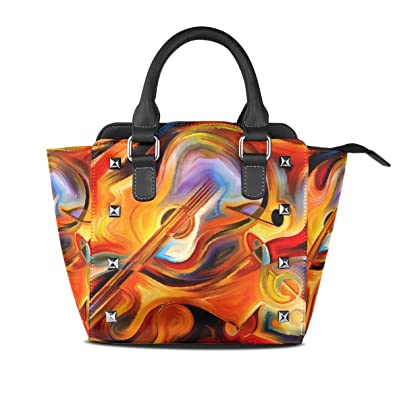 86babecaf147 Jennifer PU Leather Top-Handle Handbags Abstract Colorful Melody ...