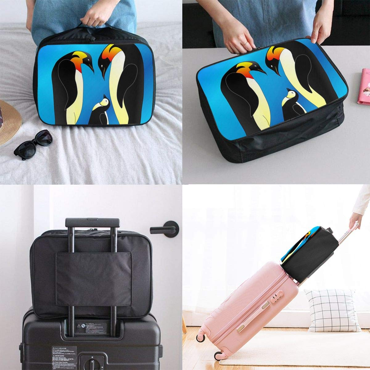 Penguin Family Travel Bag Lightweight Luggage Bags Duffle Bag Large Capacity Travel Organizer Bag