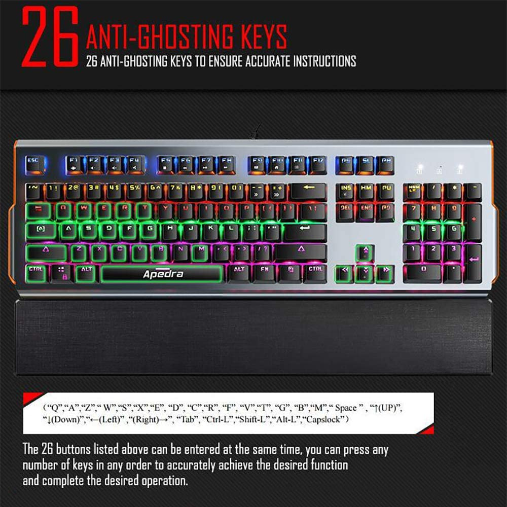 LED-Backlit USB Cable Game Keyboard with Multimedia Buttons 6-Color Variable Light Background 26-Key No Conflict LINGYUN 104-Key Green Axis Mechanical Keyboard