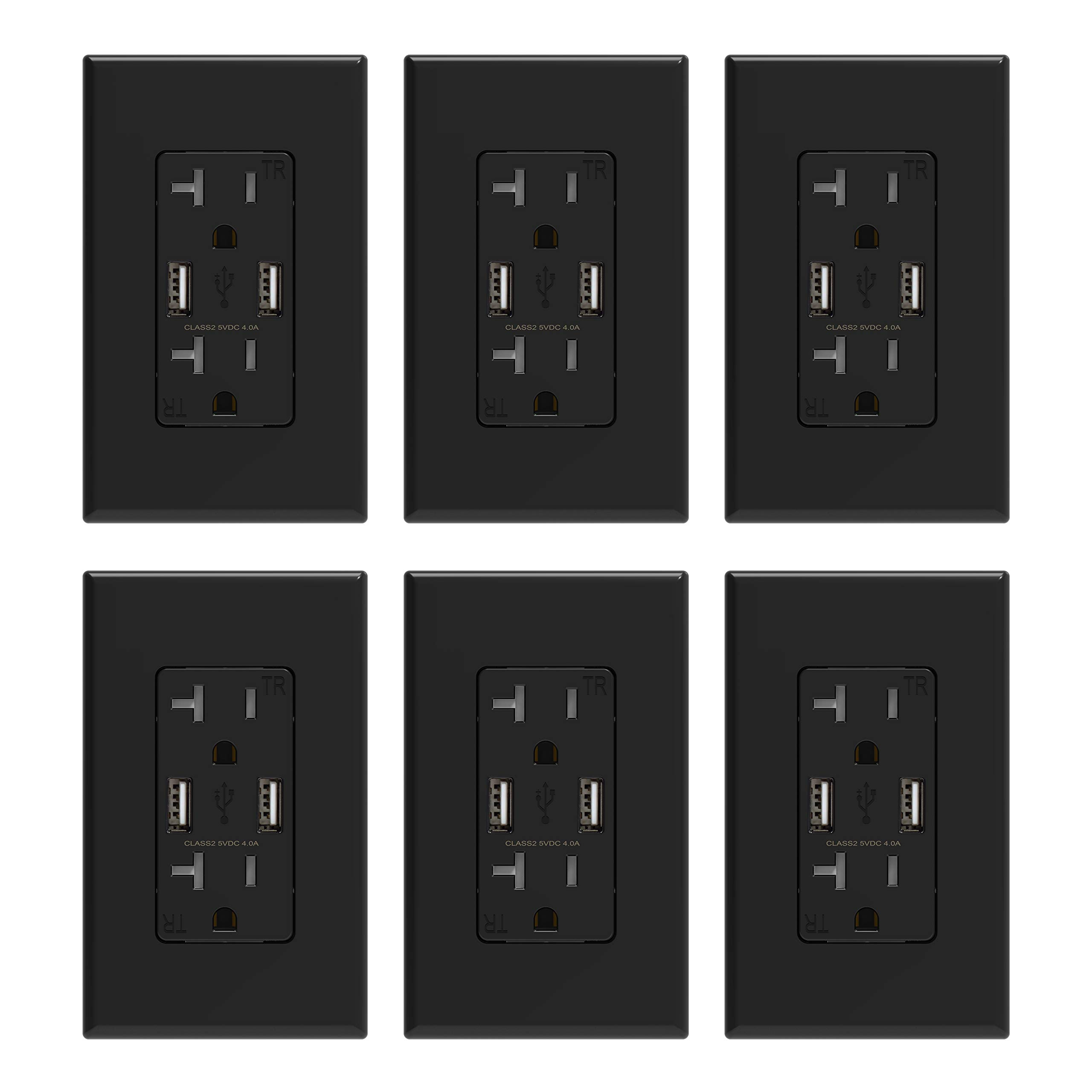ELEGRP USB Charger Wall Outlet, Dual High Speed 4.0 Amp USB Ports with Smart Chip, 20 Amp Duplex Tamper Resistant Receptacle Plug NEMA 5-20R, Wall Plate Included, UL Listed (6 Pack, Black) by ELEGRP