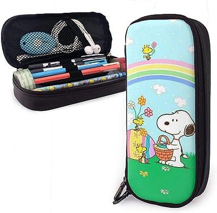 Snoopy Estuche de piel con cremallera duradera para artículos de papelería y otros suministros escolares: Amazon.es: Oficina y papelería