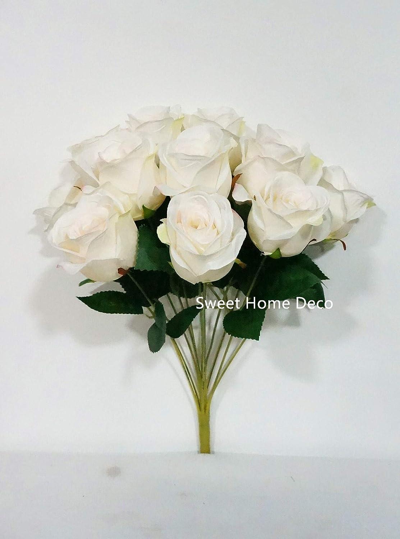 Wine Red Rose Artificial 18-Head Silk Flowers Bouquet Wedding Home Decors