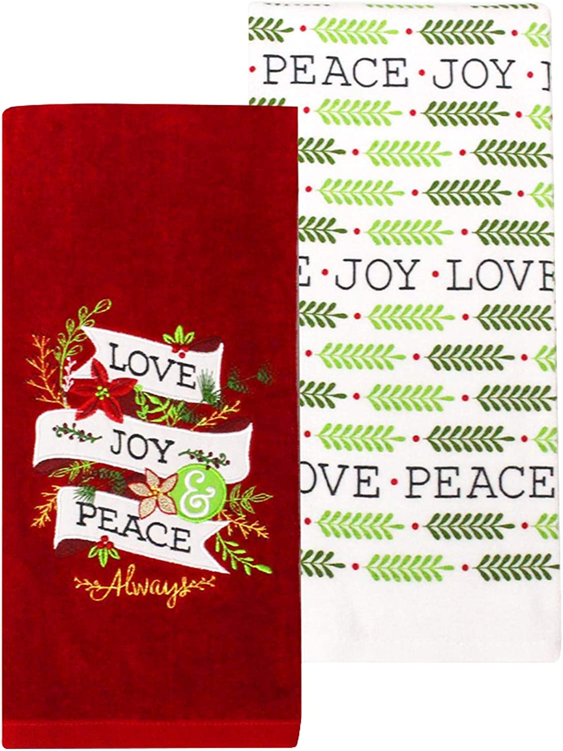 Amazon Com St Nicholas Square Christmas Kitchen Dish Towels 100 Cotton Red And White Holiday Love Joy Peace Set Of 2 Home Kitchen