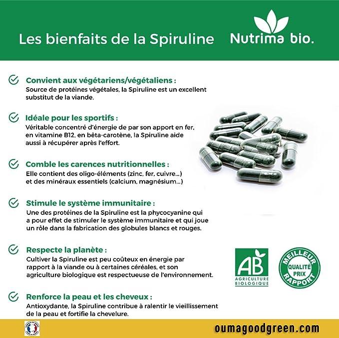 Nutricite Bio - Espirulina orgánica 90 cápsulas 400 mg de alta calidad: Amazon.es: Salud y cuidado personal