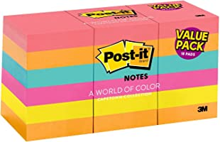 Post-it Notes, Pink, Green, Blue, Orange, America's #1 Favorite Sticky Note, 1 3/8 in. x 1 7/8 in, 18 Pads/Pack, (653-18AU)