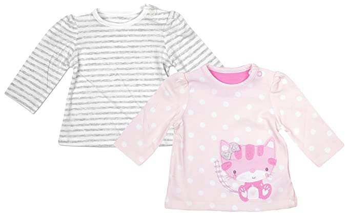 414bf4541 Girls Baby Pack of 2 Kitty Polka Stripe Long Sleeve Tops Sizes from ...