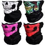 CIKIShield Couples Seamless Skull Face Tube Mask Black (4pcs-Color Set)