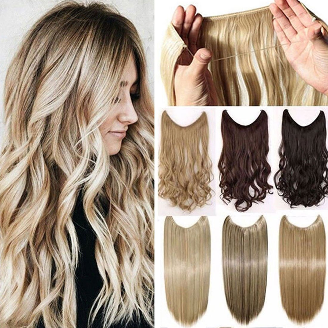Secret Wire in Hair Extensions Straight Curly Wavy Hair Extension Long Hairpiece Blonde Brown Black Color For Women 20 Curly - Medium brown Rich Choices