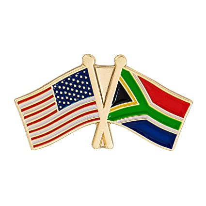 51c3d45c027 Amazon.com  South Africa Country Double Flag Lapel Pin Enamel with ...
