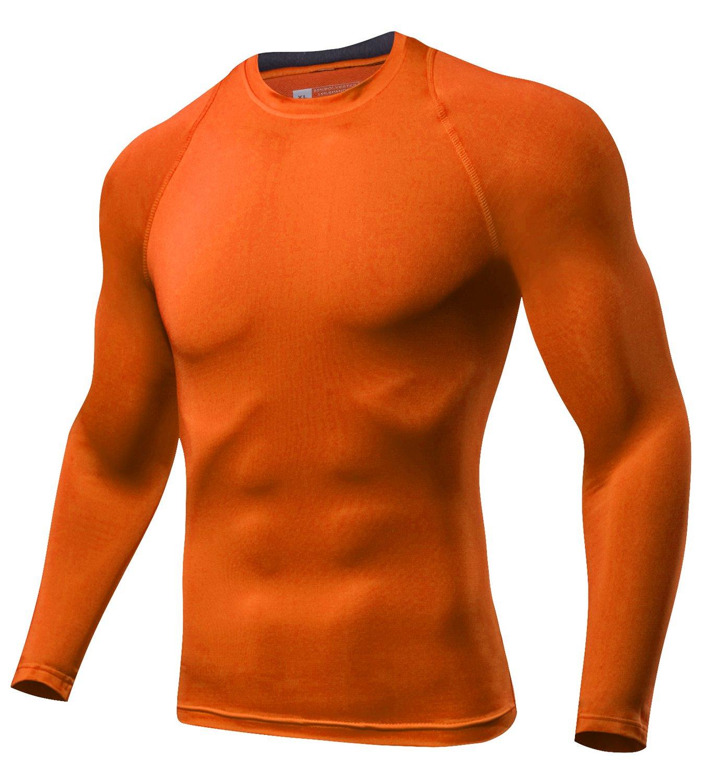 Lavento Mens Compression Shirts Crewneck Long-Sleeve Dri Fit Workout Shirts