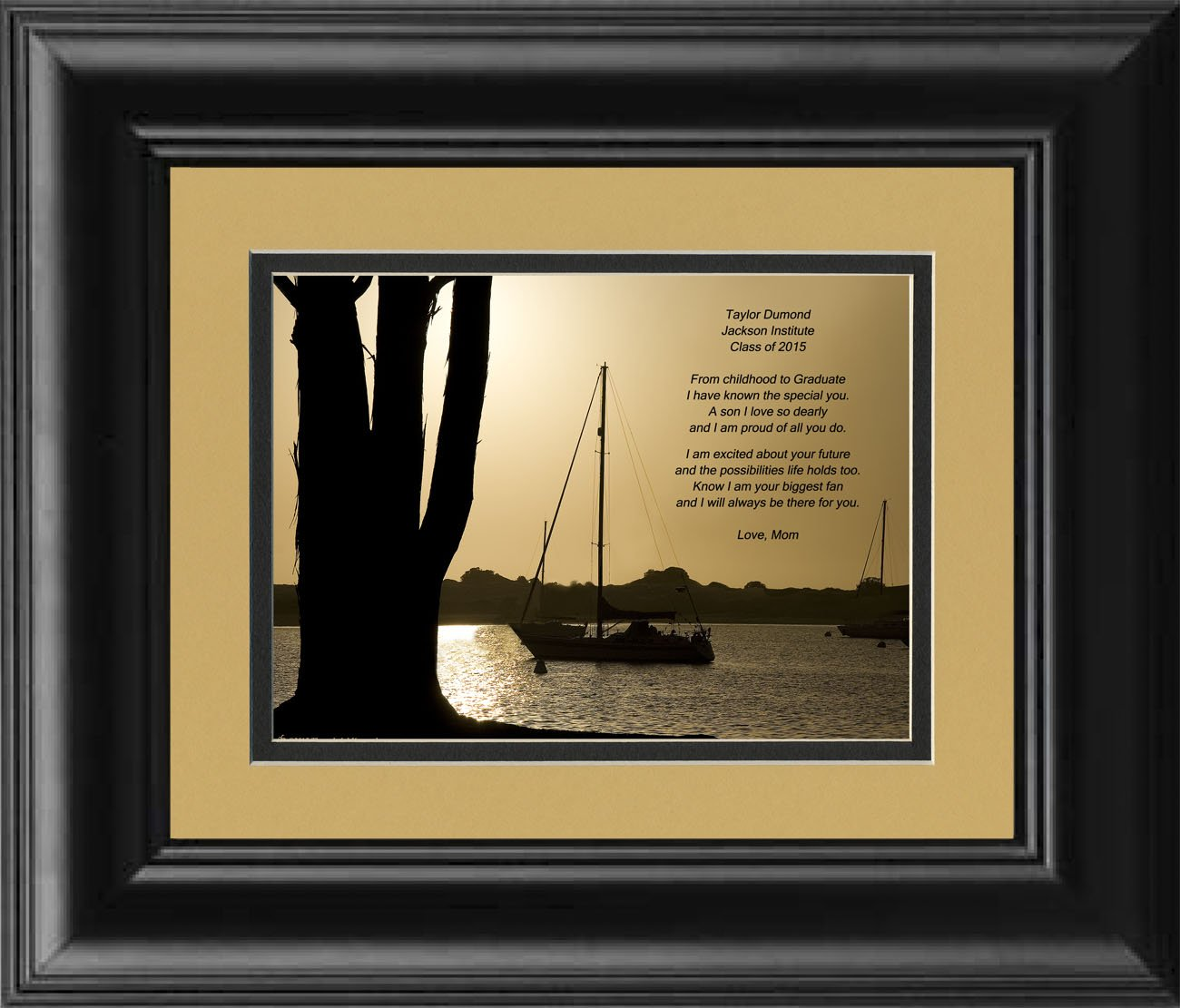 Framed Personalized Son Graduation Gift, Boats at Dusk Photo with ''From Childhood to Graduate'' 8x10 Double Matted. Special Keepsake Graduation Gifts for Son 2017