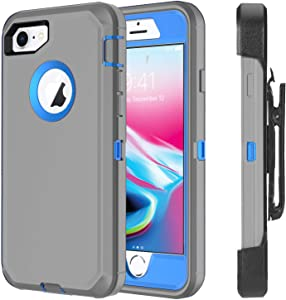 Ciameyo Case Compatible for iPhone 8 / iPhone 7, Heavy Duty with Built-in Screen Protector Rugged Shorkproof Defender Kickstand Cover for Apple iPhone 7 / iPhone 8 Grey