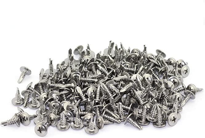 25 Pack Self-Drilling Dovetail Screws 410 Stainless Steel #8 1 Inch Truss Head Phillips Drive Drill Point Tek Screws