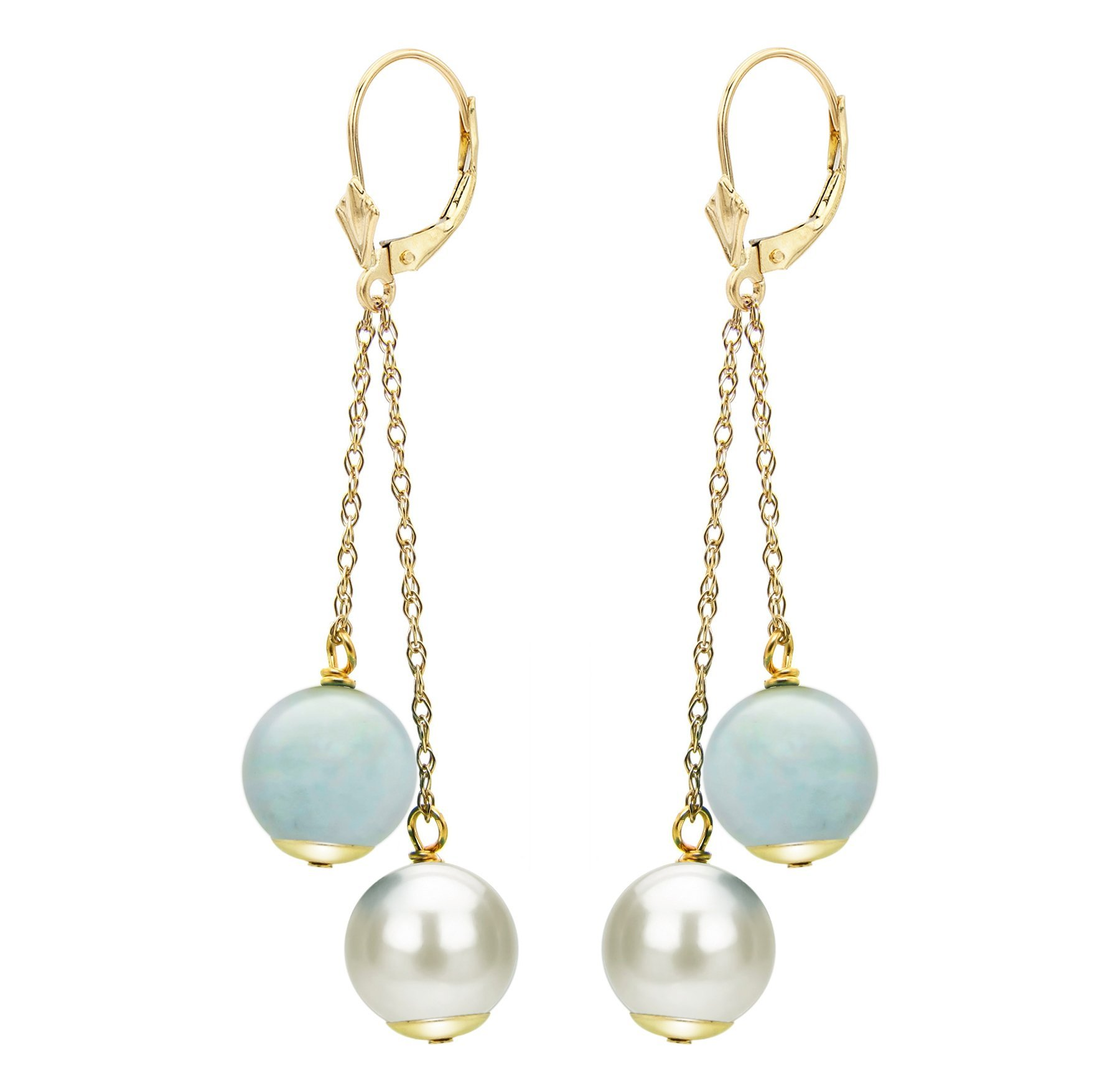 White Cultured Freshwater Pearl Earrings 14K Gold Leverback Simulated Aquamarine Bridesmaid Gift 8-8.5mm