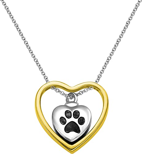 Getname Necklace Personalized Pet Paw Charm Double Heart Urn Necklace for Ashes Memorial Cremation Jewelry Pendent