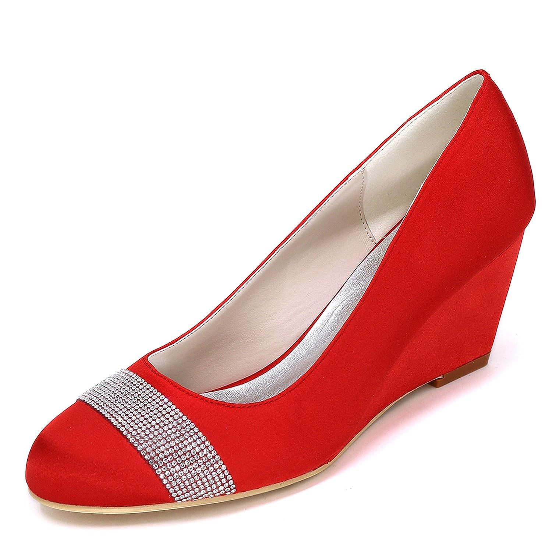 Elobaby Zapatos De Boda De Las Mujeres Tacones Medios Blanco Cerrado Arcos del Dedo del Pie SatéN Novia/6.5cm TalóN 37 EU|Red