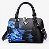 Bangle009 Elegant Chic Lady Shell Bag Cross Body Floral Print Faux Leather Handbag Gift Black
