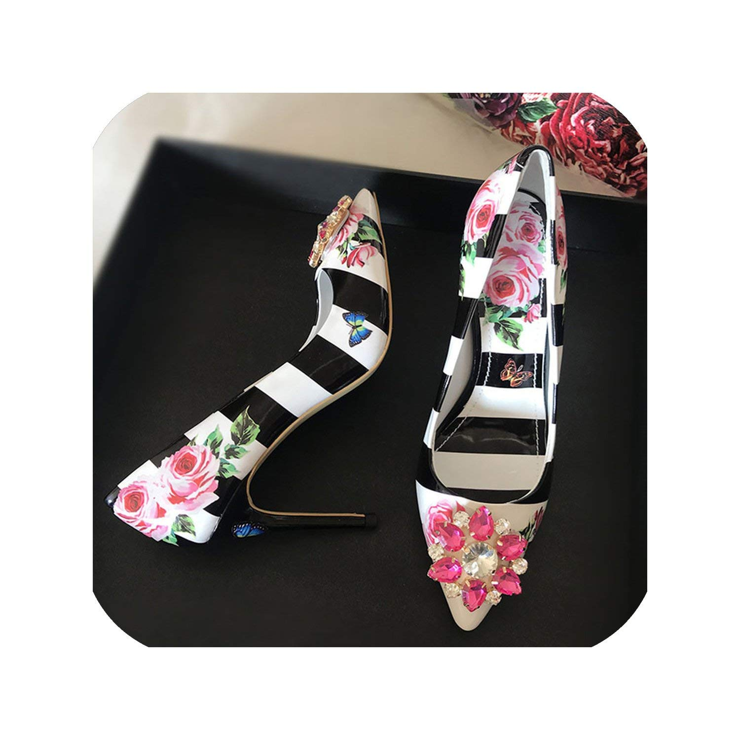 Black 10cm The Hot Rock-sandals Printed color High Heel shoes Woman Point Toe Shallow Thin Heel Bling Crystal Wedding shoes Women