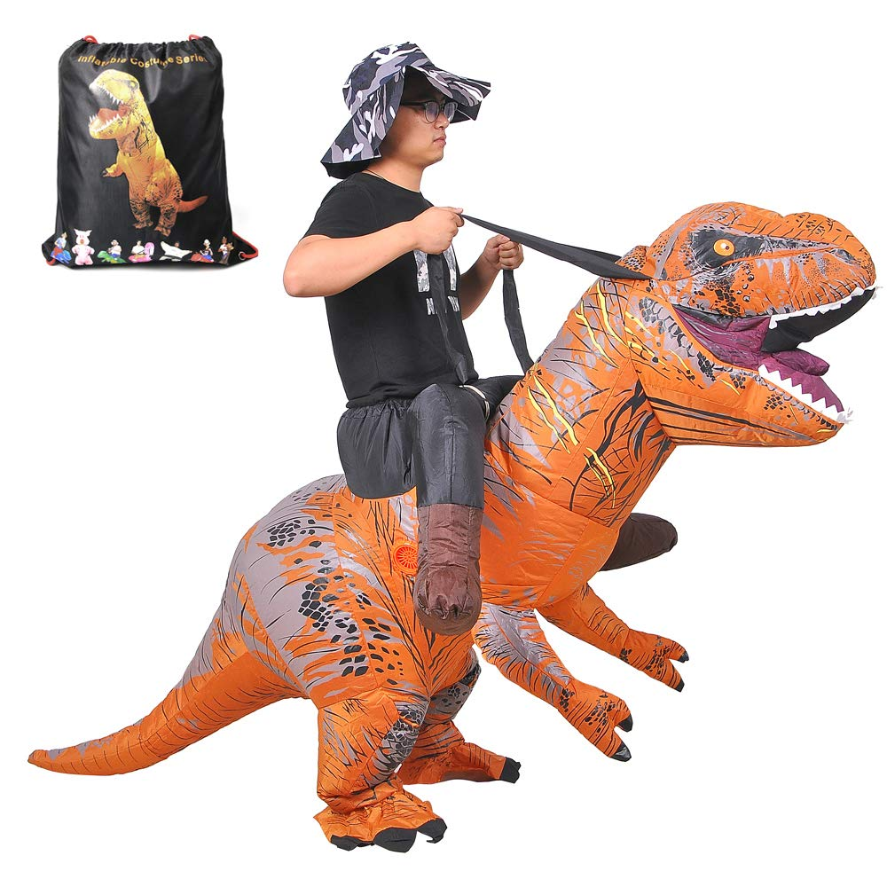 RHYTHMARTS Riding Dinosaur Costume Adult Inflatable Costume Kids with Drawstring Bag by RHYTHMARTS
