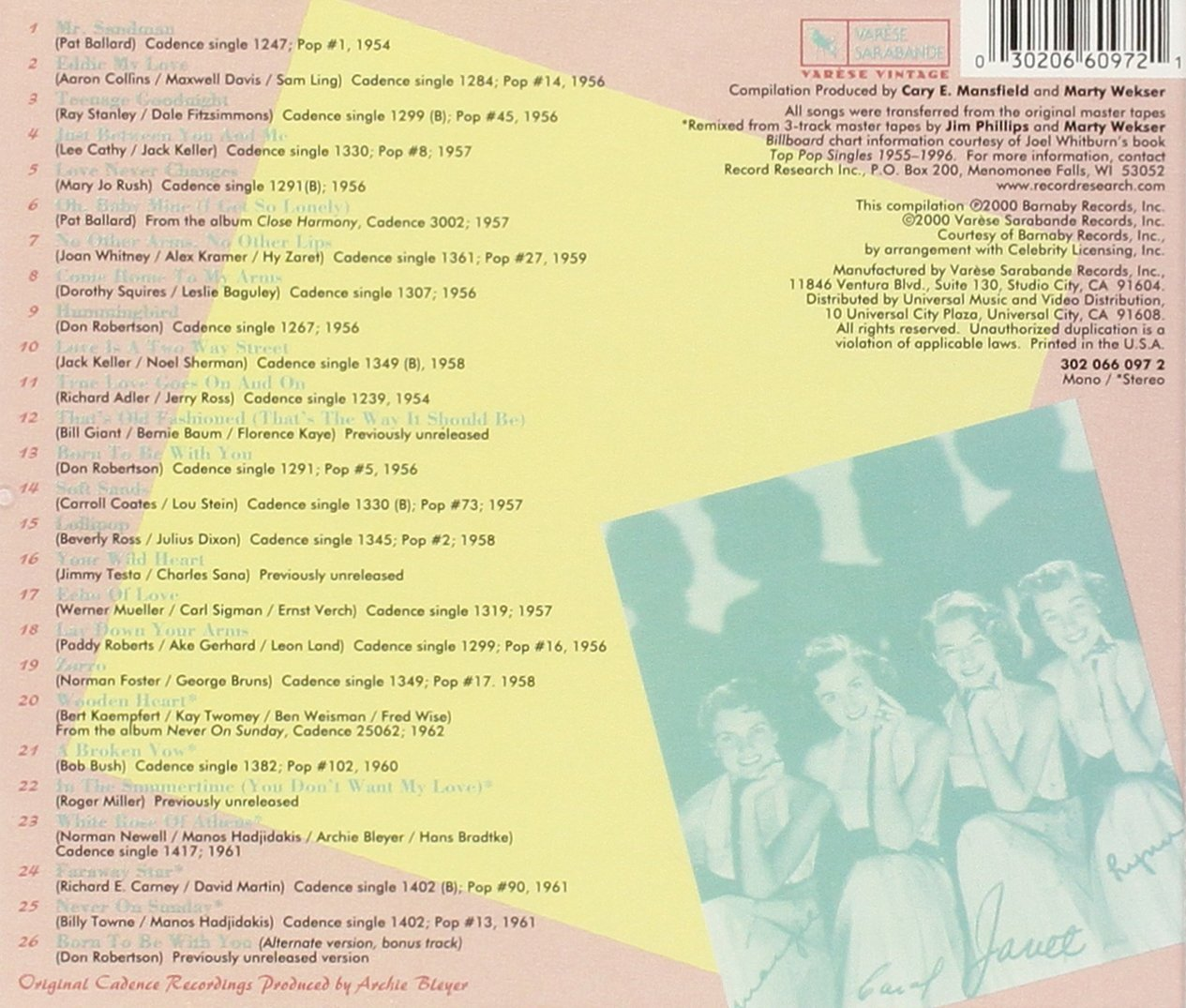 The Chordettes: 25 All-Time Greatest Recordings by CHORDETTES