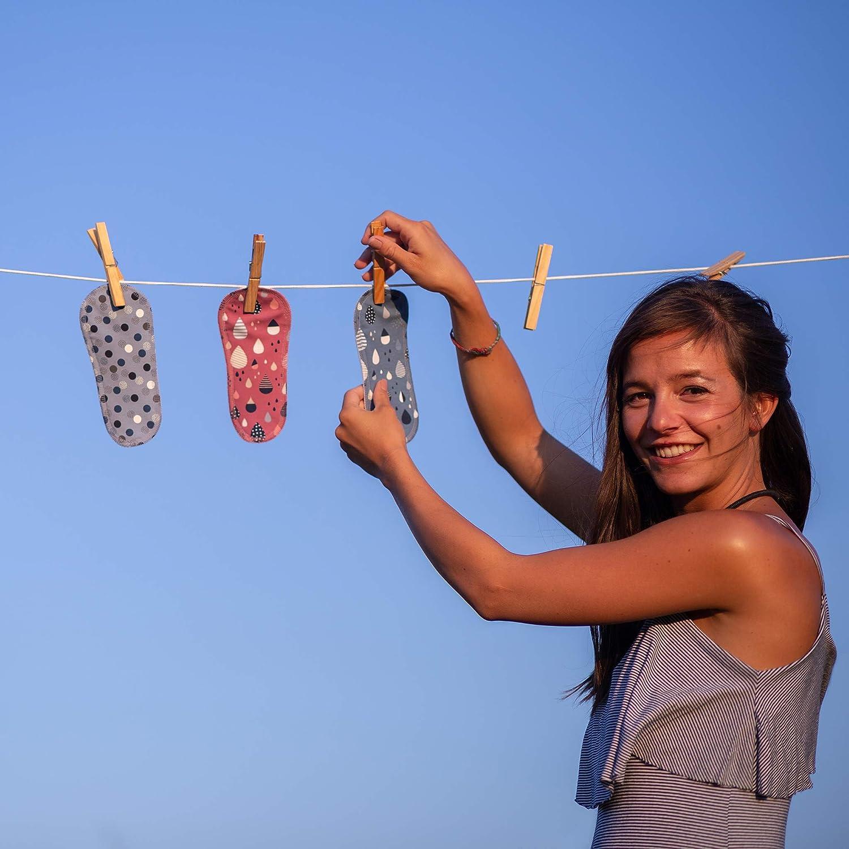 pack de 7 compresas ecologicas de algod/ón puro con alas; HECHAS EN LA UE para menstruaci/ón postparto Compresas de tela reutilizables incontinencia; compresas lavables organico para mujer