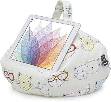 Cats Night Out. Bean bag cushion stand for iPad tablet kindle book.Handmade