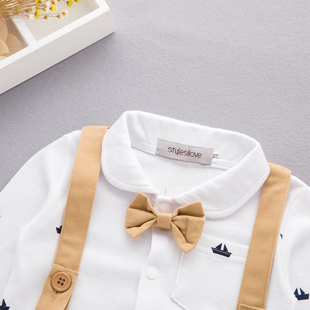 db90fb4b8 stylesilove Newborn Infant Toddler Sailor Boat Print Faux Suspender Formal  Wear Baby Boy Romper