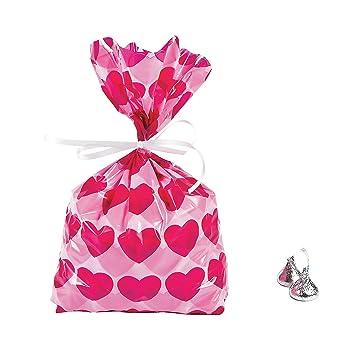Amazon.com: 12 ~ corazón bolsas de celofán ~ 5