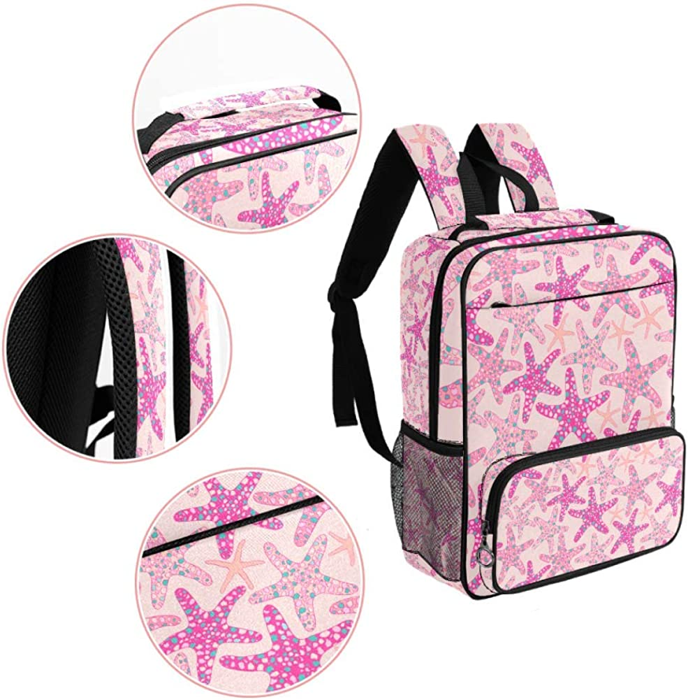 Pink Starfish School Backpack Laptop Backpacks Casual Bookbags Daypack for Kids Girls Boys and Women