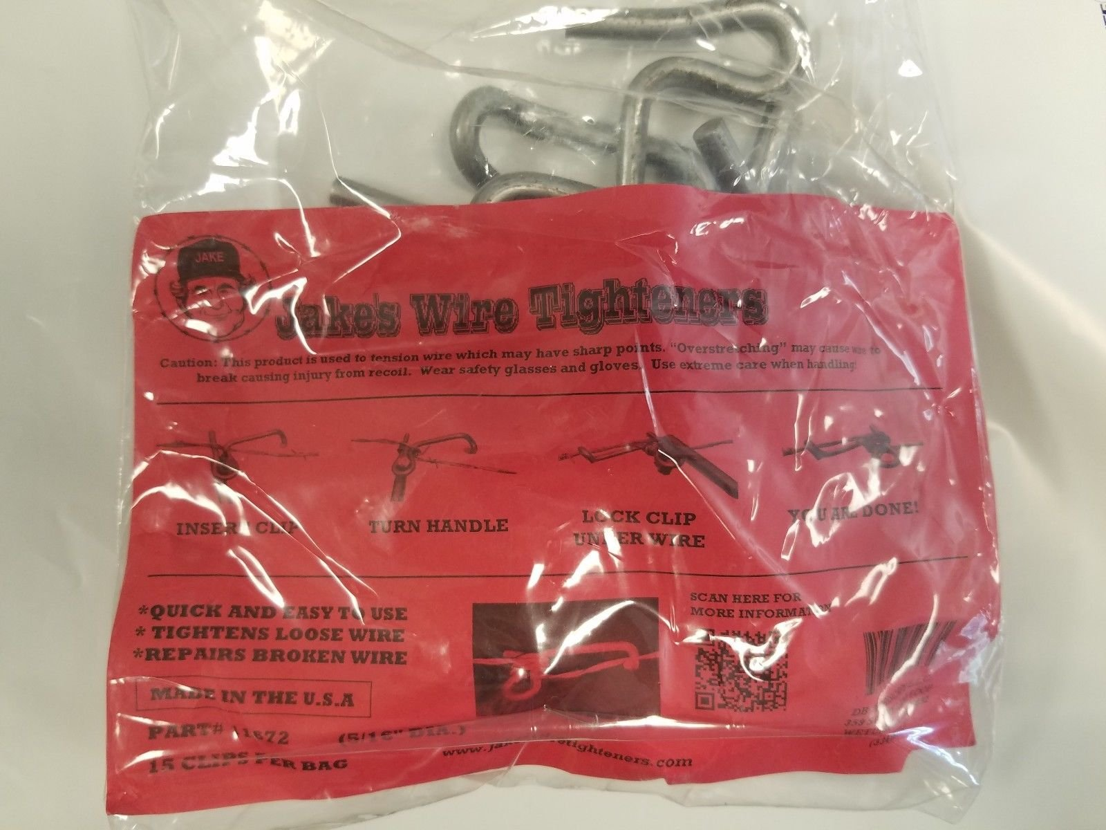 Jakes Wire Tighteners Heavy Duty 5/16'' 15 Count Bag and Handle Tool