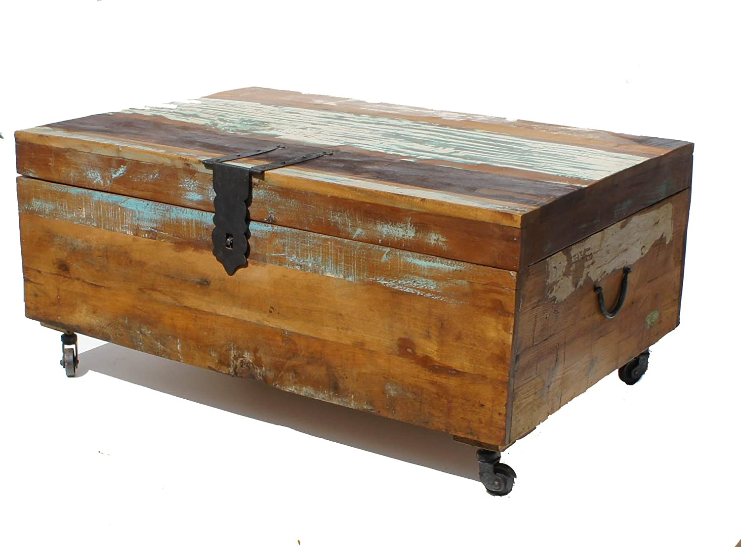 Shabby Chic Old Painted Teak Chest Coffee Table On Wheels