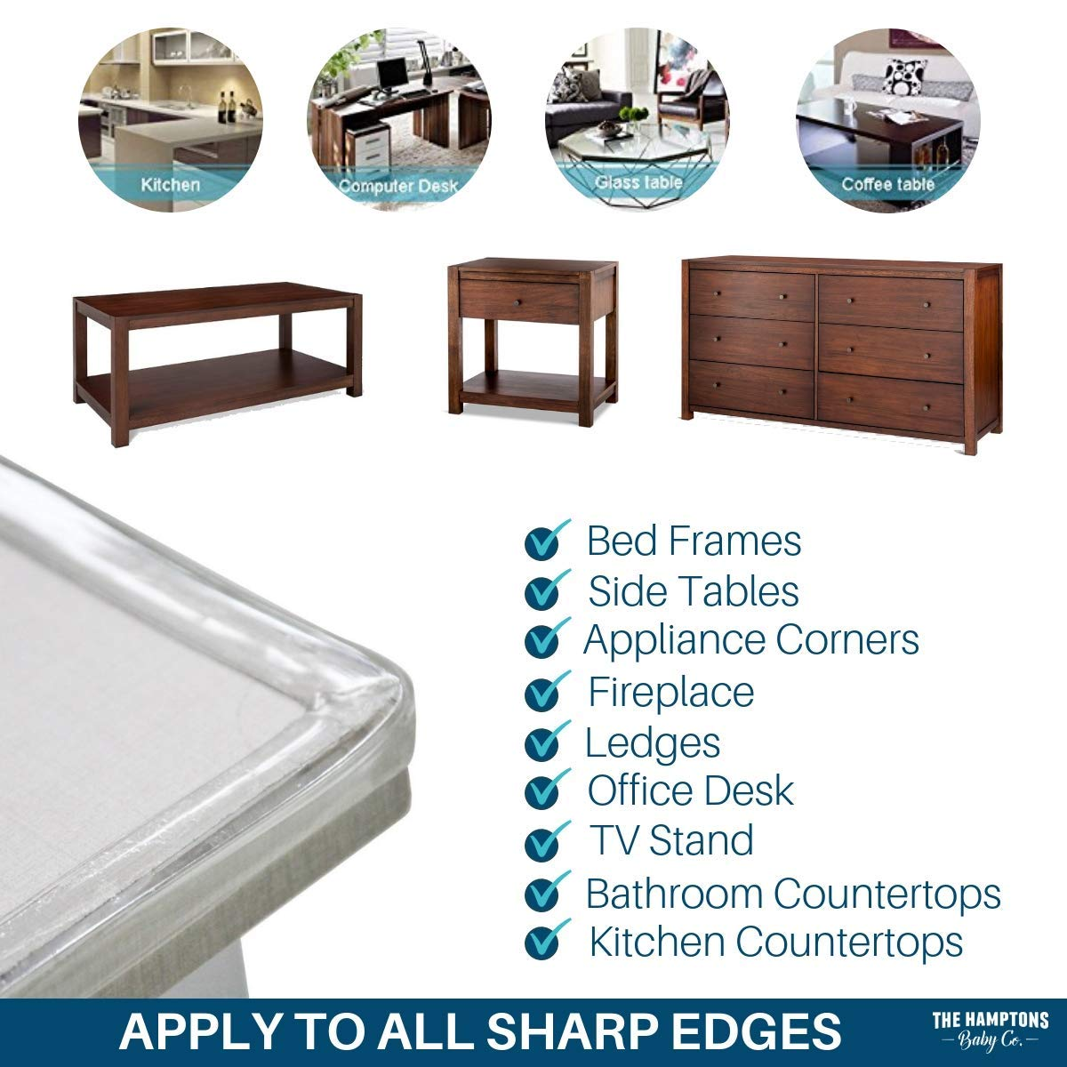Clear Edge Protectors by The Hamptons Baby - 9-1ft Pieces with Premium Gel Adhesive - Guard Against Injuries on Sharp Edges in Your House, Use on Coffee & Dining Tables, Dressers, Desks and Much More by The Hamptons Baby (Image #7)