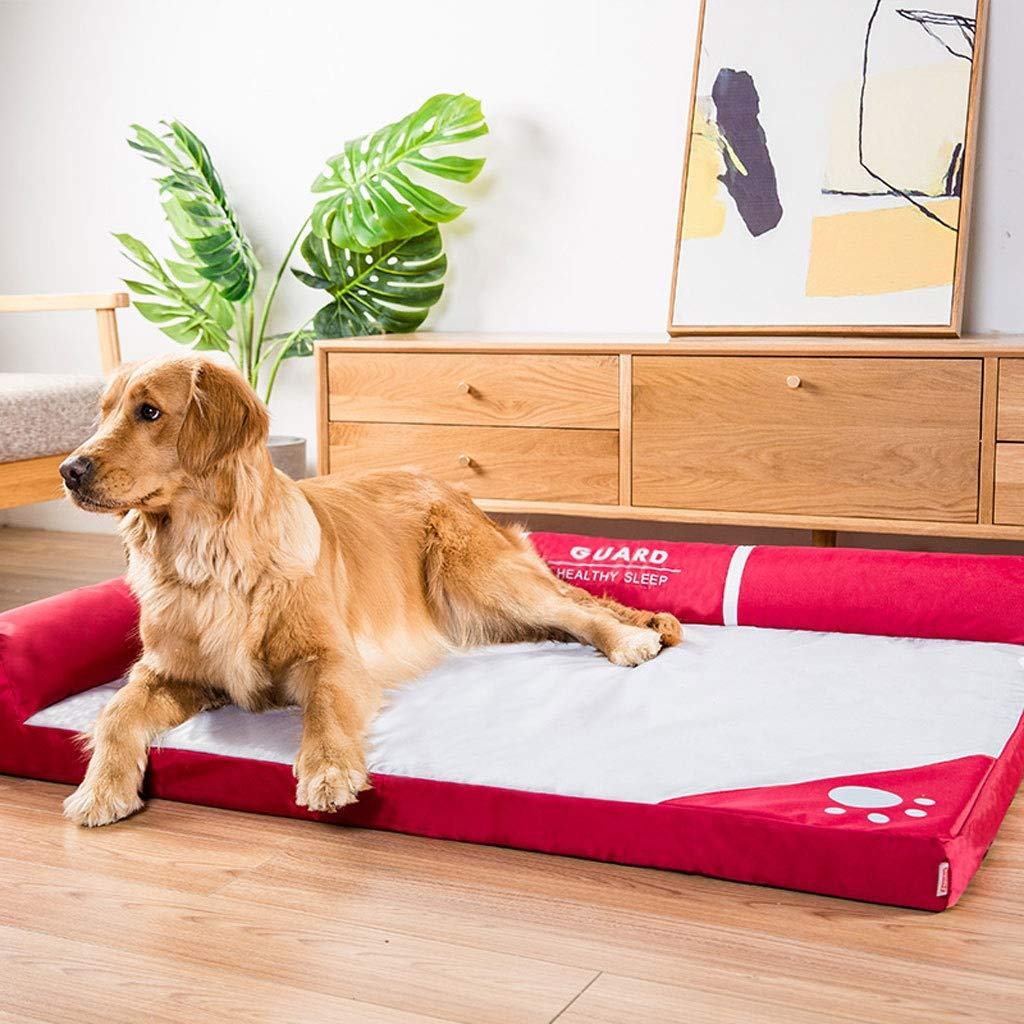 Red 100×80×17cmHidog A++ Lshaped Bilateral Kennel, Four Seasons Universal Cat Dog Bed, Large And Mediumsized golden Retriever Dog Removable And Washable Pet Mat (color   Red, Size   100×80×17cm)